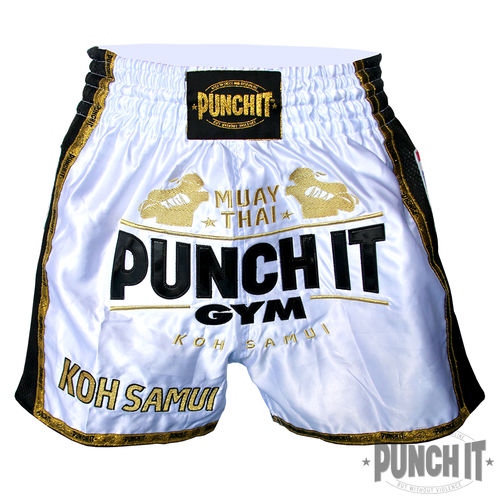 Muay Thai Short Punch it Gym white